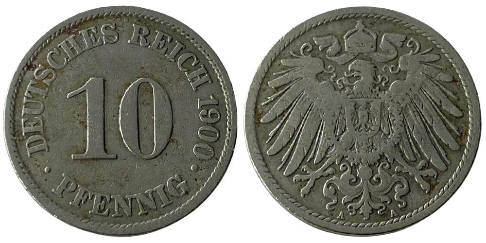 10 пфеннигов 1900 «A» — Германская империя
