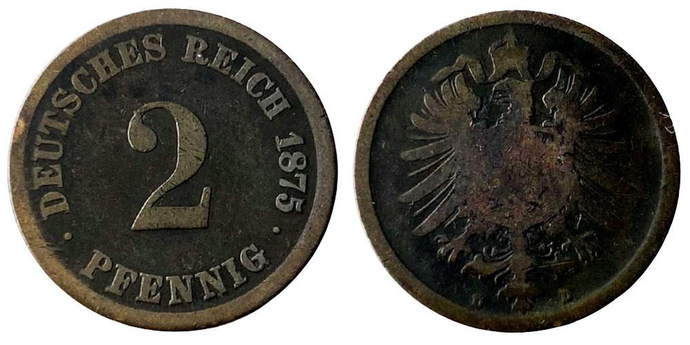 2 пфеннига 1875 «D» Германская империя