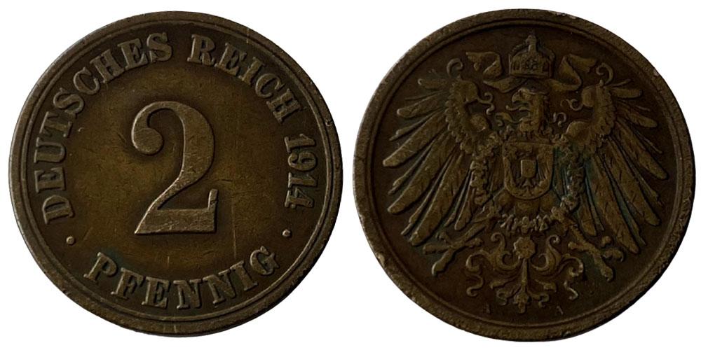 2 пфеннига 1914 «А» Германская империя