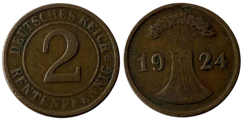 2 рентенпфеннига 1924 Германия — Стёртая отметка монетного двора