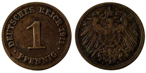 1 пфенниг 1911 «D» Германская империя