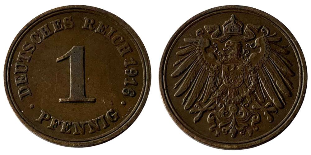 1 пфенниг 1916 «F» Германская империя