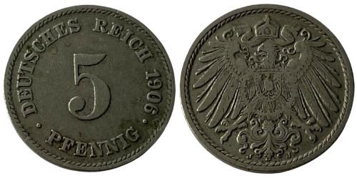5 пфеннигов 1906 «J» Германская империя