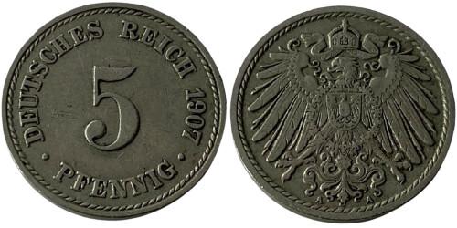 5 пфеннигов 1907 «A» Германская империя