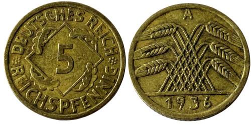 5 рейхспфеннигов 1936 «А» Германская империя