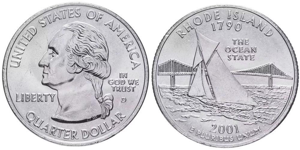 25 центов 2001 D США — Род-Айленд — Rhode Island UNC