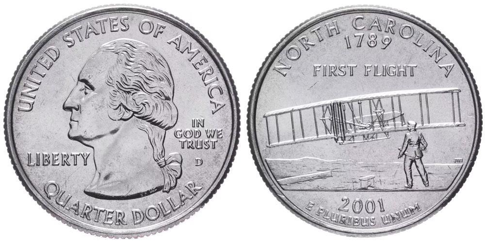 25 центов 2001 D США — Северная Каролина — North Carolina UNC