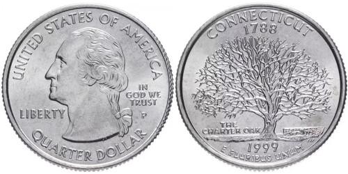 25 центов 1999 P США — Коннектикут — Connecticut