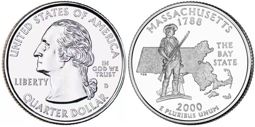 25 центов 2000 D США — Массачусетс — Massachusetts UNC
