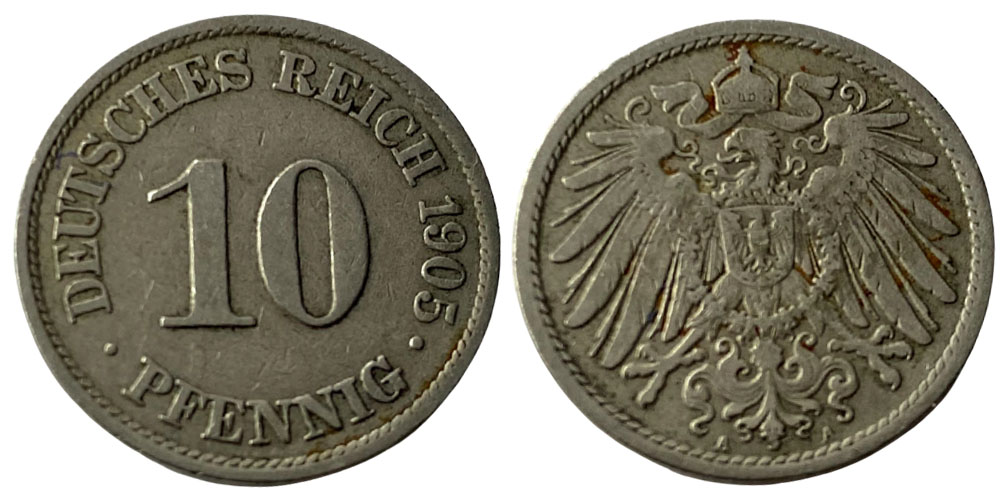 10 пфеннигов 1905 «А» — Германская империя