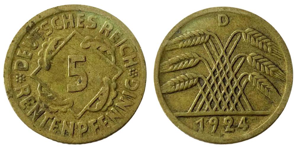 5 рентенпфеннигов 1924 «D» Германия