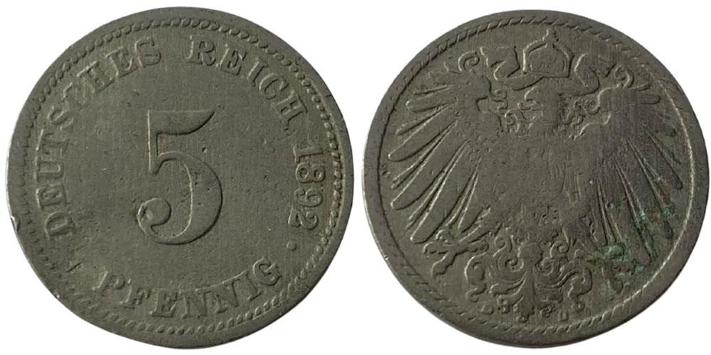 5 пфеннигов 1892 «D» Германская империя