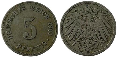 5 пфеннигов 1901 А» Германская империя