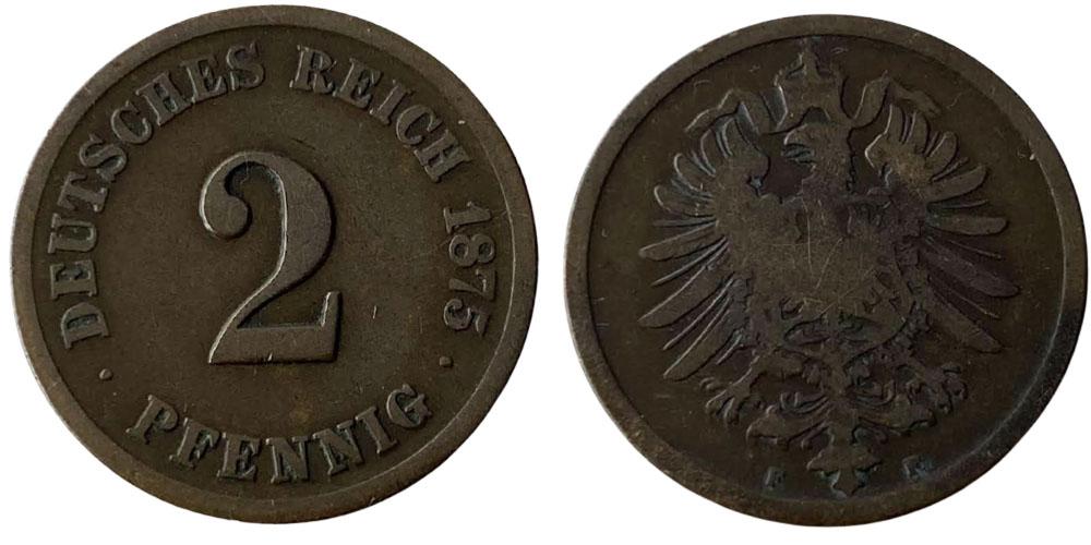 2 пфеннига 1875 «F» Германская империя