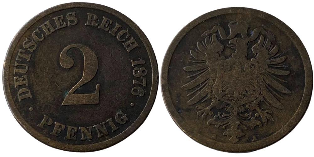 2 пфеннига 1876 «А» Германская империя