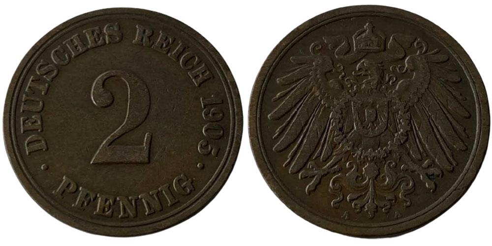 2 пфеннига 1905 «A» Германская империя