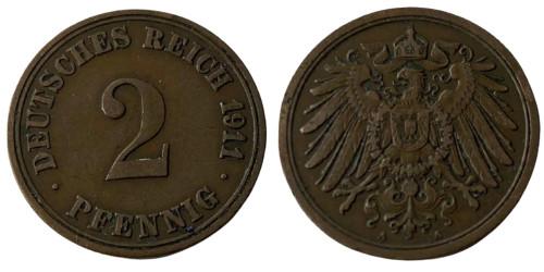 2 пфеннига 1911 «A» Германская империя