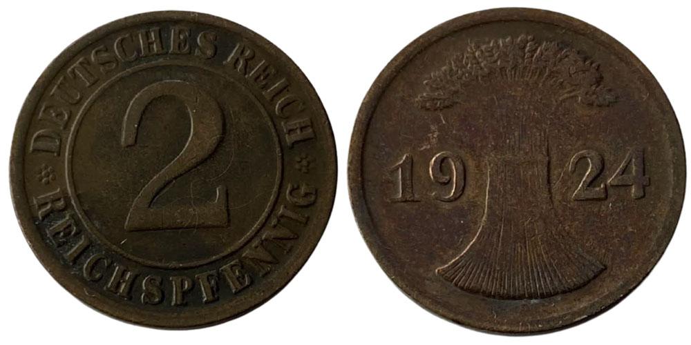 2 рейхспфеннига 1924 «А» Германия