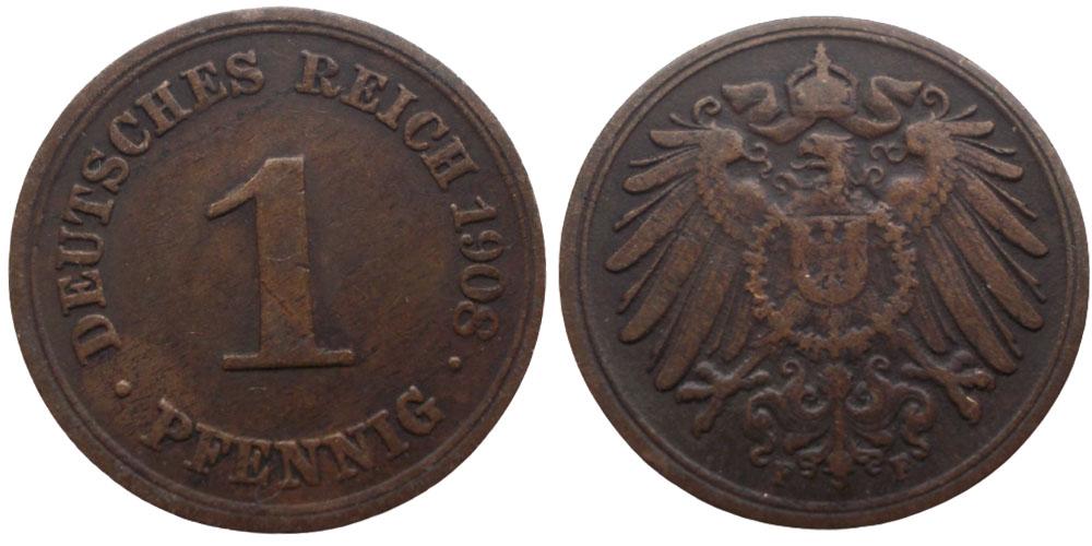 1 пфенниг 1908 «F» Германская империя