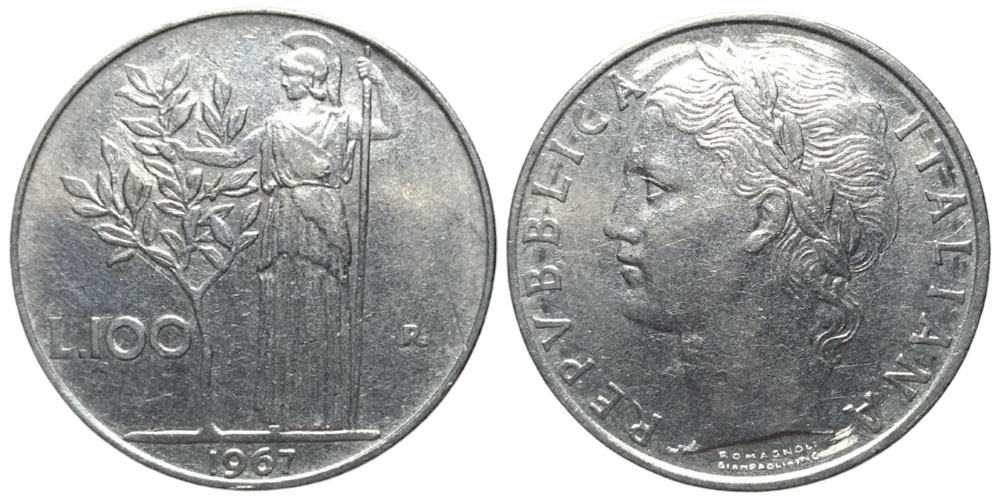 100 лир 1967 Италия