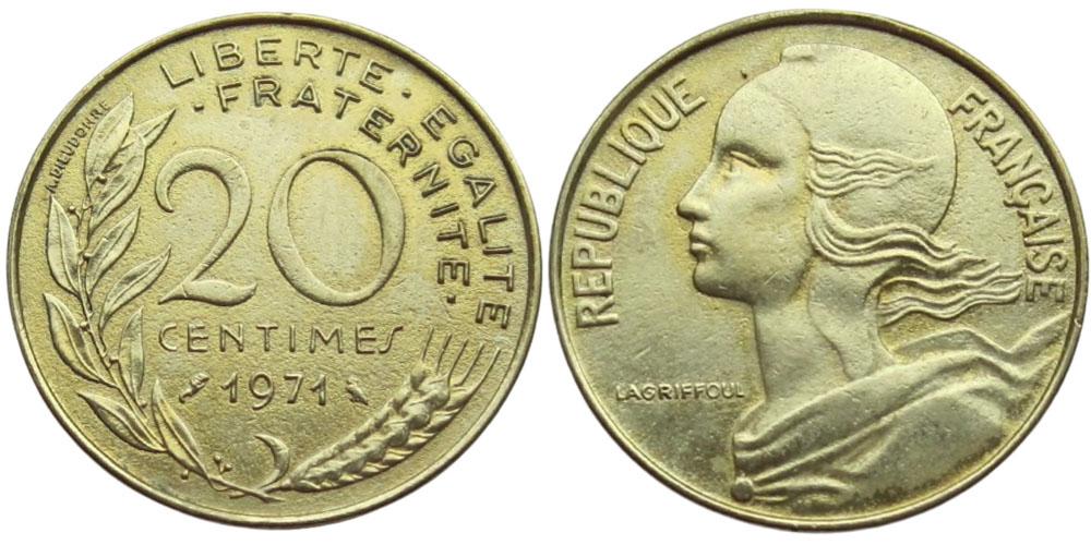 20 сантимов 1971 Франция