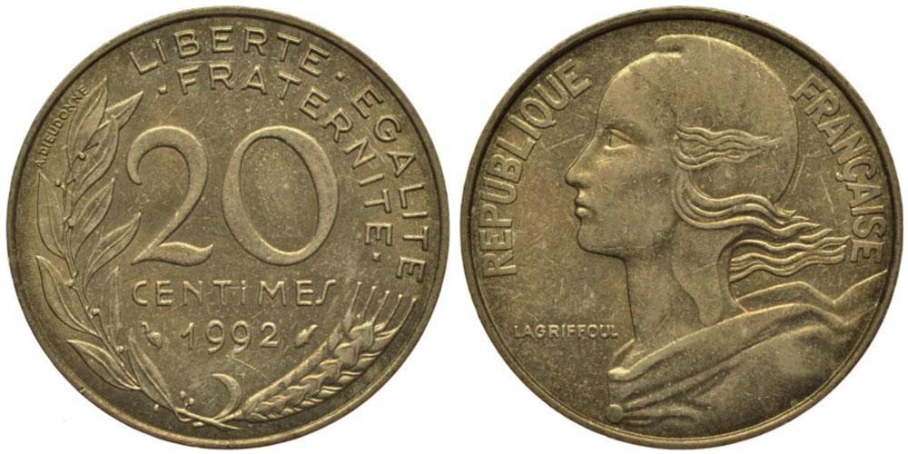 20 сантимов 1992 Франция