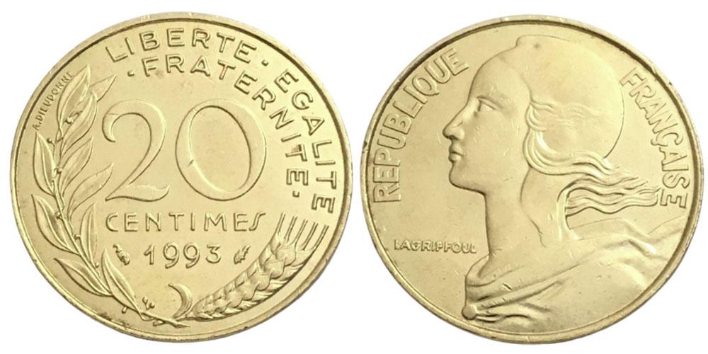 20 сантимов 1993 Франция