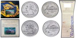 Набор из 2-ух монет 25 центов 2007 P,D США — Вашингтон — Washington UNC